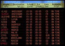 Sinal da placa da programação de vôo Foto de Stock