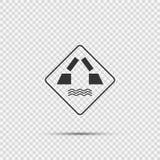 Sinal da ponte da abertura do símbolo no fundo transparente ilustração stock