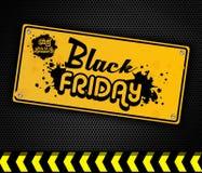Sinal da porta do amarelo de Black Friday Imagem de Stock Royalty Free