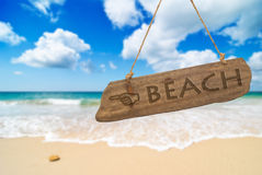 Sinal da praia do paraíso Imagem de Stock Royalty Free