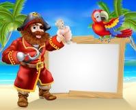 Sinal da praia do pirata ilustração stock