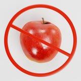 Sinal da proibição com Apple Foto de Stock Royalty Free