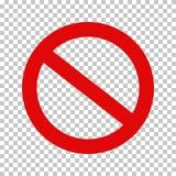 Sinal da proibição, nenhum símbolo; Cruzado para fora circunde ilustração stock