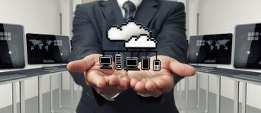 Sinal da rede da nuvem do pixel 3d Fotografia de Stock Royalty Free