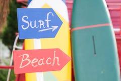 Sinal da ressaca e sinal da praia Fotografia de Stock Royalty Free