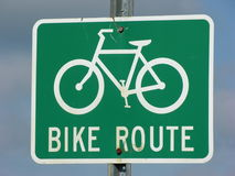 Sinal da rota da bicicleta Foto de Stock Royalty Free