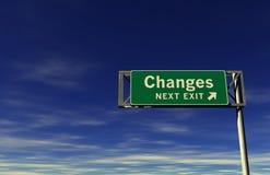 Sinal da saída de autoestrada das mudanças