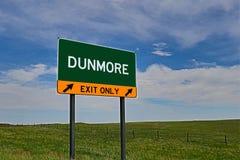 Sinal da saída da estrada dos E.U. para Dunmore Imagem de Stock