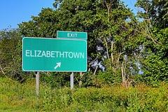 Sinal da saída da estrada dos E.U. para Elizabethtown fotografia de stock