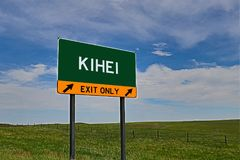 Sinal da saída da estrada dos E.U. para Kihei fotos de stock