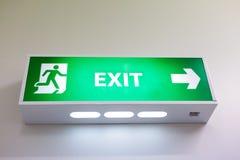 Sinal da saída de emergência Fotografia de Stock