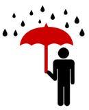 Sinal da segurança com guarda-chuva Imagens de Stock Royalty Free