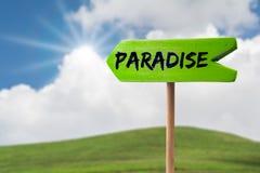 Sinal da seta do sinal do paraíso imagens de stock royalty free