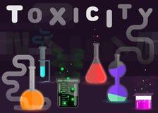 Sinal da toxicidade, ilustração lisa do vetor do estilo dos produtos químicos tóxicos Fotos de Stock Royalty Free