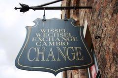 Sinal da troca de moeda Foto de Stock Royalty Free