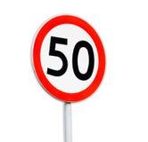Sinal 50 da velocidade no fundo branco Fotos de Stock Royalty Free
