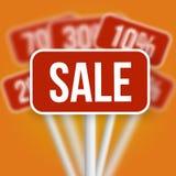 Sinal da venda com sinais borrados disconto de uma venda do vetor Fotografia de Stock