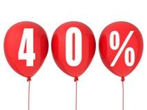 sinal da venda de 40% em balões vermelhos Imagens de Stock Royalty Free