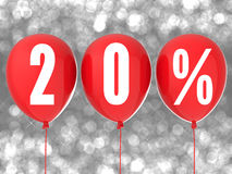 sinal da venda de 20% em balões vermelhos Foto de Stock