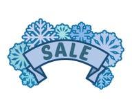 Sinal da venda do inverno na fita com os flocos de neve azuis sem fundo, pé de página do disconto e bandeira imagem de stock