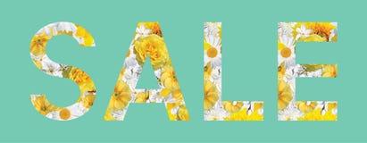 Sinal da venda feito das flores Colagem com flores Imagens de Stock Royalty Free