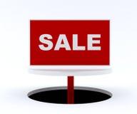Sinal da venda no suporte branco Fotos de Stock