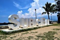 Sinal da zona do porto franco de Subic Bay imagens de stock