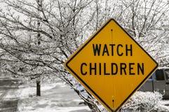 Sinal das crianças do relógio Imagens de Stock