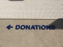 Sinal das doações Fotografia de Stock