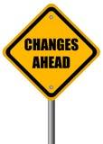 Sinal das mudanças adiante Foto de Stock Royalty Free