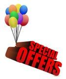 Sinal das ofertas especiais 3d com balões coloridos Fotos de Stock Royalty Free