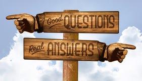 Sinal das perguntas e resposta que aponta os dedos Q&A ilustração stock
