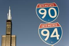 Sinal de 90 e de 94 de um estado a outro Fotografia de Stock Royalty Free