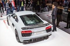 Sinal de adição de Audi R8 V10 no IAA 2015 Imagem de Stock