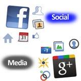 Sinal de adição de Google contra Facebook Imagens de Stock
