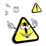 Sinal de advertência da atenção do perigo dos desenhos animados Imagens de Stock Royalty Free