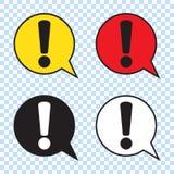 Sinal de advertência da atenção do perigo Marca de exclamação na bolha do discurso, ilustração do vetor ilustração stock