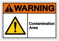 Sinal de advertência do símbolo da área da contaminação, ilustração do vetor, isolado na etiqueta branca do fundo EPS10 ilustração stock