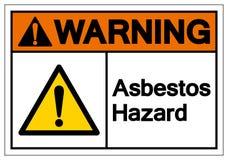 Sinal de advert?ncia do s?mbolo do perigo do asbesto, ilustra??o do vetor, isolada na etiqueta branca do fundo EPS10 ilustração stock