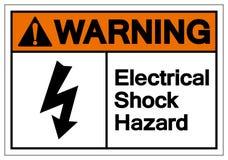 Sinal de advertência do símbolo do perigo de choque elétrico, ilustração do vetor, isolado na etiqueta branca do fundo EPS10 ilustração do vetor