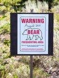 Sinal de advertência do urso imagem de stock