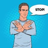 Sinal de Art Man Gesturing Stop Hand do PNF Guy Refusing ilustração stock