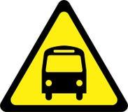 Sinal de aviso amarelo com ônibus ilustração stock