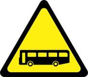 Sinal de aviso amarelo com ônibus ilustração do vetor