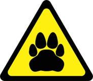 Sinal de aviso amarelo com gato ilustração royalty free
