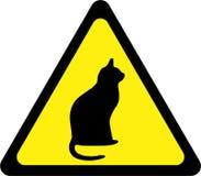 Sinal de aviso amarelo com gato ilustração do vetor
