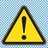Sinal de aviso, sinal amarelo do triângulo com marca do exlamation ilustração royalty free