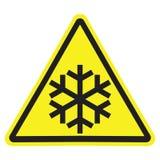 Sinal de aviso amarelo do triângulo com o floco de neve preto isolado ilustração do vetor