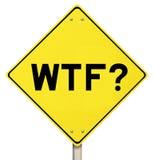 Sinal de aviso amarelo - WTF - isolado Foto de Stock Royalty Free
