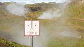 Sinal de aviso aproximadamente de alta temperatura do ` do ` 100C da fonte imagem de stock royalty free